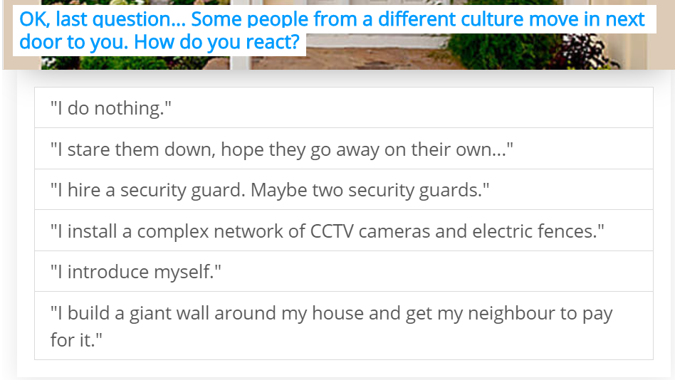 quiz question about someone from a different culture moving in next door