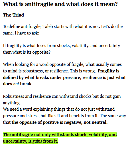 Progressive Summarization in the web. The example is a book summary of Antifragile written by Celz Alejandro