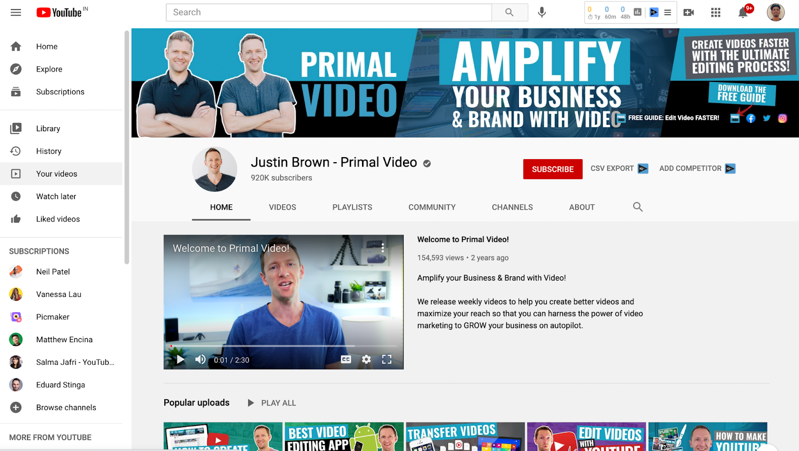 A screenshot of Primal video's YouTube channel 1