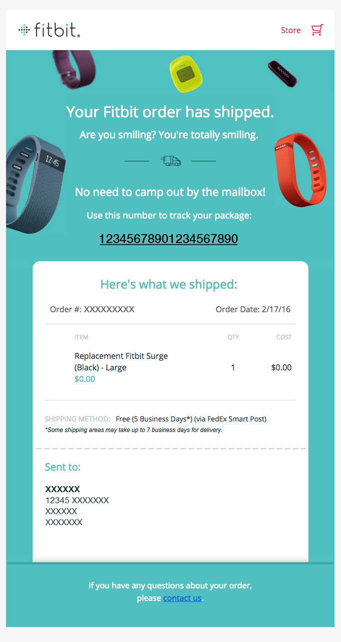 Fitbit shipping confirmation email design