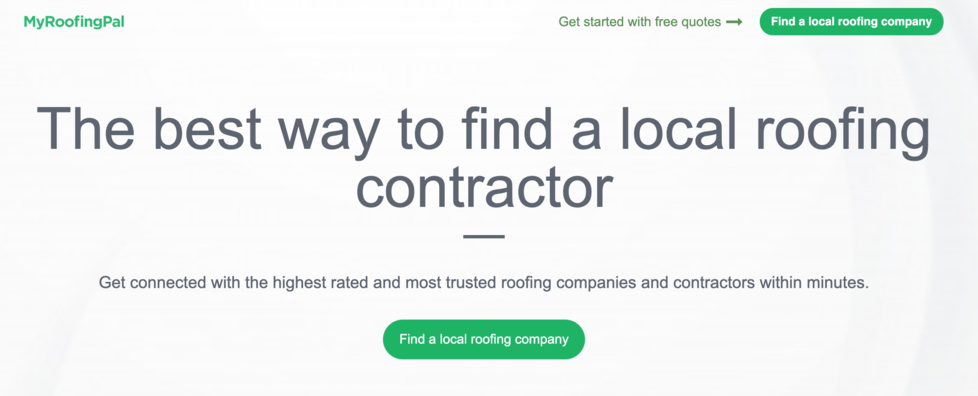 Banner at the top of MyRoofingPal website.