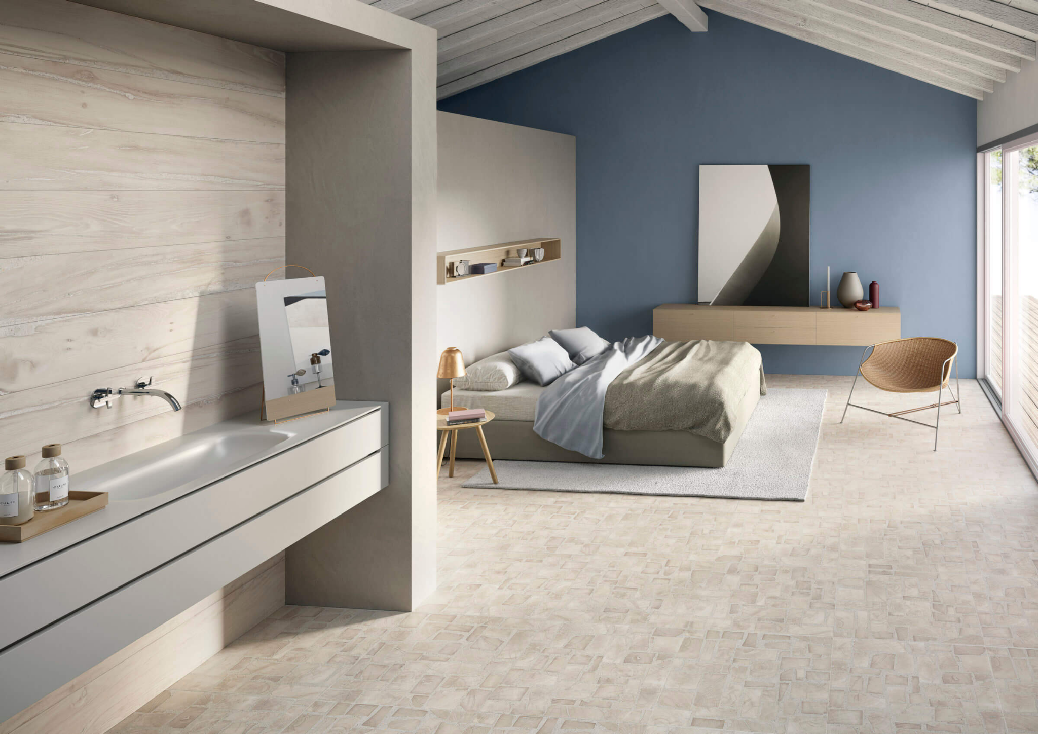 Bedroom with light wood-look tile flooring and walls