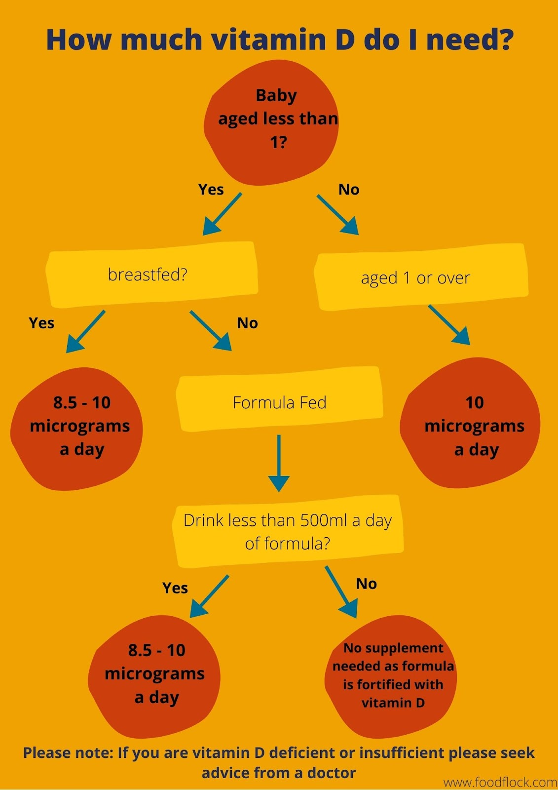 flow chart showing vitamin D requirements for all age groups