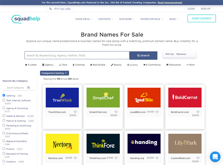 brand names for sale squadhelp