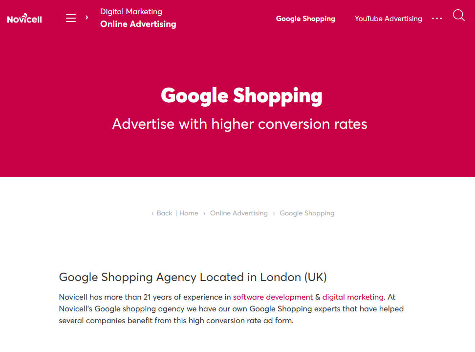 Google Shopping Agency based in London