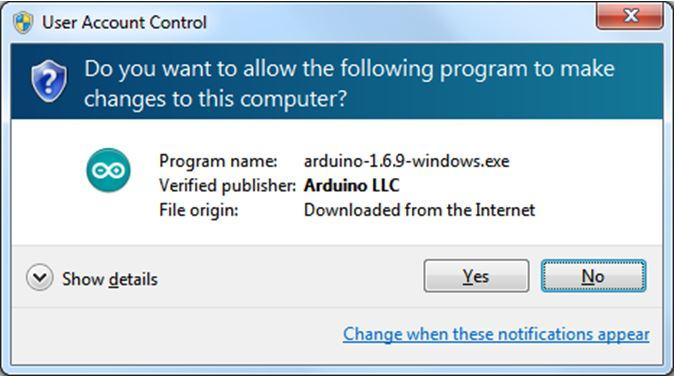 Prompt generated by OS during Arduino installation