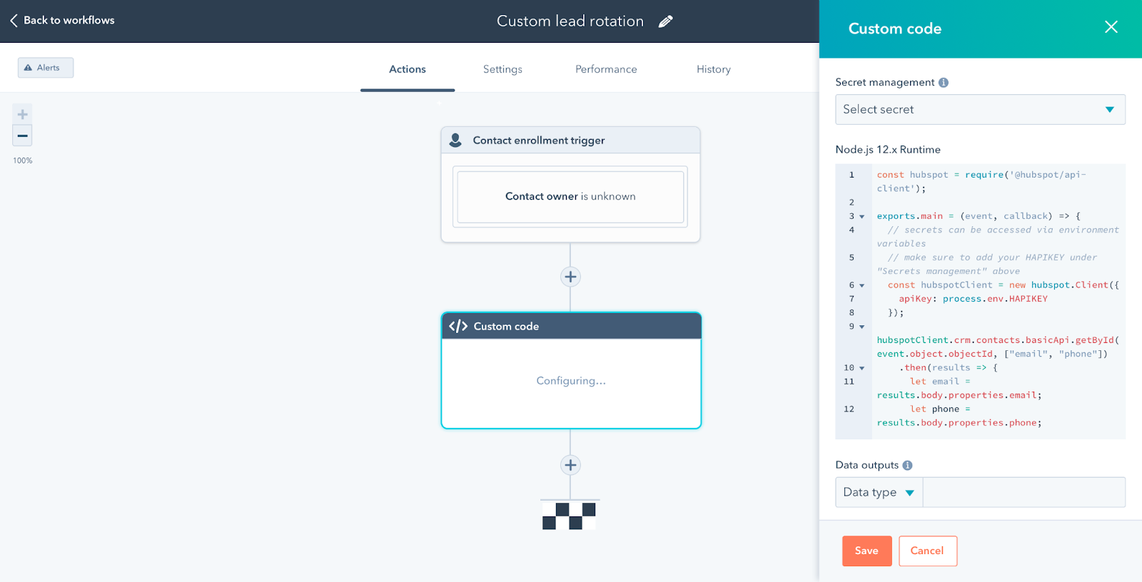 HubSpot screenshot showing coded workflows