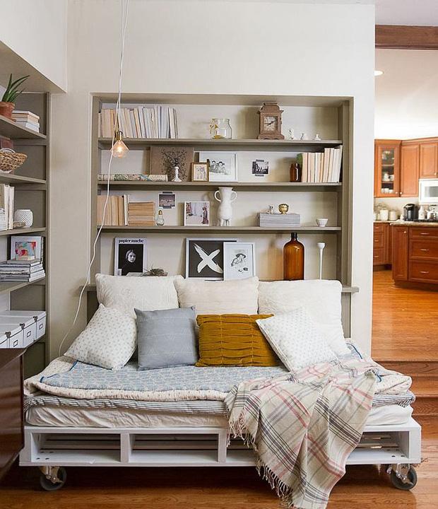 Phòng đọc sách làm phòng ngủ