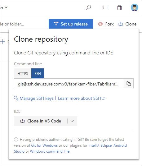 Connect to git repository in TFS or Visual Studio Online