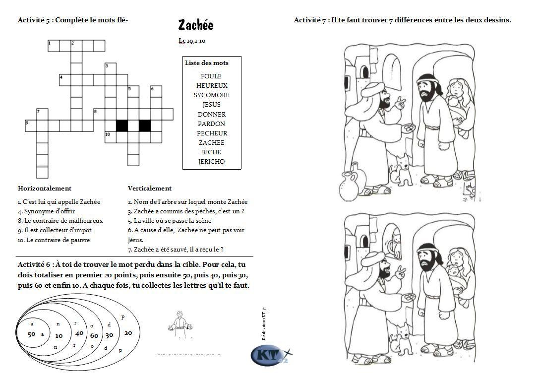 livret de jeux sur Zachée