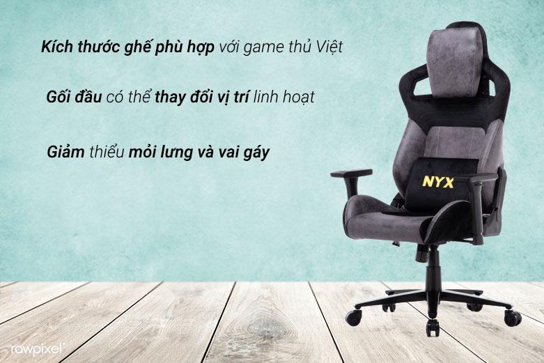 Ghế E-dra NYX EGC222 (Đen Xám)   Kích thước ghế phù hợp