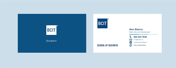 Sample of Student Business Card