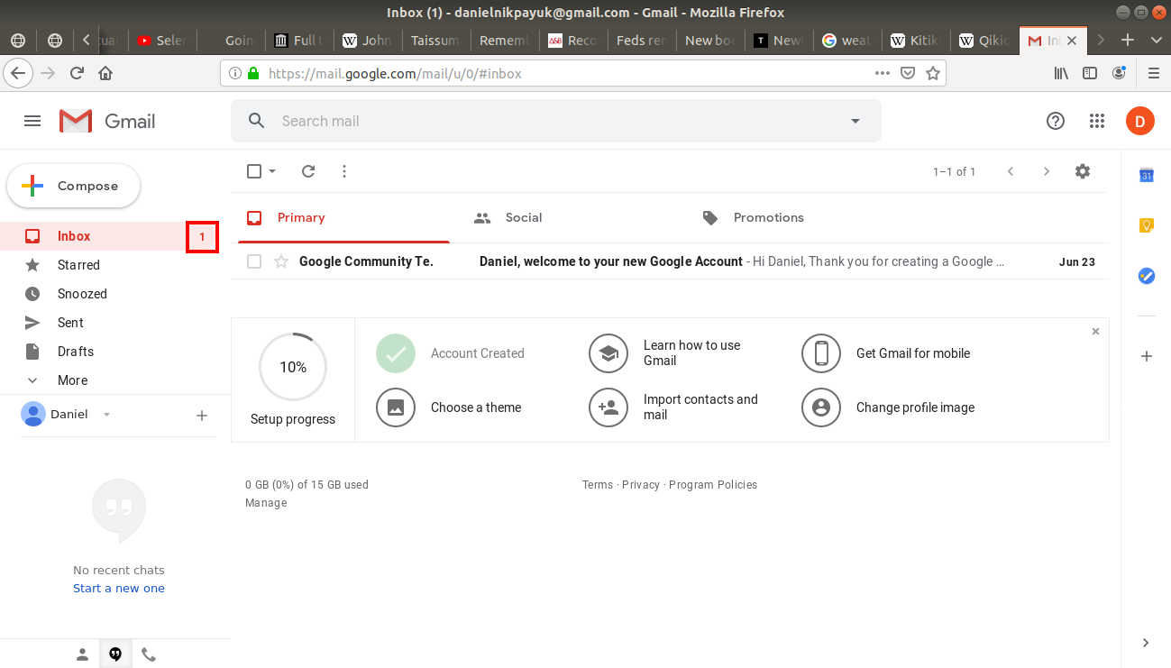 Inbox highlighted on Gmail