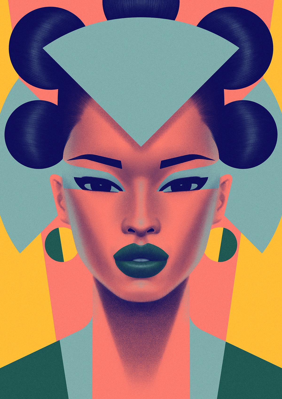 bold color Fashion  geometric modern portrait Style