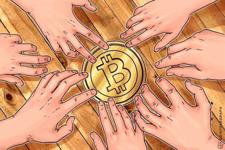 Hands that stretch towards Bitcoin