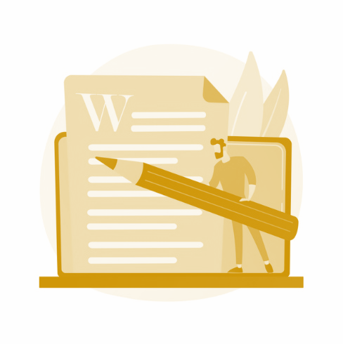 Redacción de contenido creativo. redacción publicitaria, blogs, marketing en internet. edición y publicación de textos de artículos. documentos en línea. escritor, ilustración de concepto de personaje de editor vector gratuito