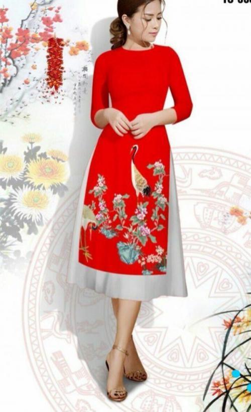 Set áo dài cách tân màu đỏ vải tơ nhung in 3D chim hạt AV191