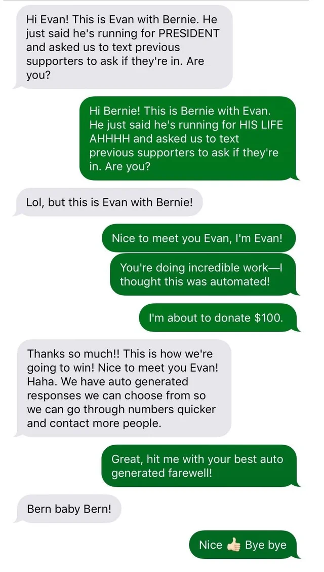 Example Text From Bernie Sanders' Campaign