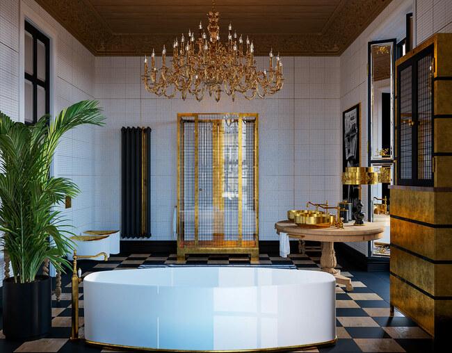 Nền nhà sử dụng tone màu tối chủ đạo tương phản với nền tường màu trắng cùng các chi tiết ánh vàng.