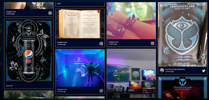 The image shows Tomorrowland's social media feed displaying a sponsored posts from Pepsi among the social media posts from attendees.