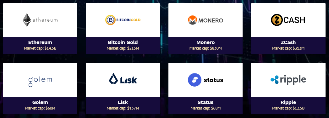 Crypto Engine's available Cryptocurrencies. Source: CryptoEngine