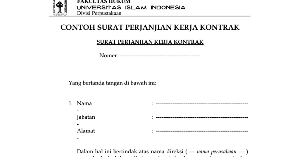 Contoh Surat Perjanjian Kerja Kontrak Fh Uii Pdf Google Drive