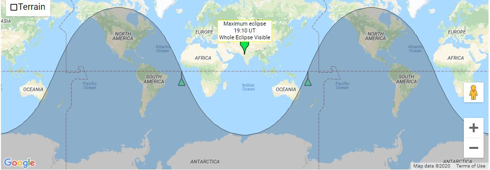 Map showing visibility of penumbral lunar eclipse on january 10 2020