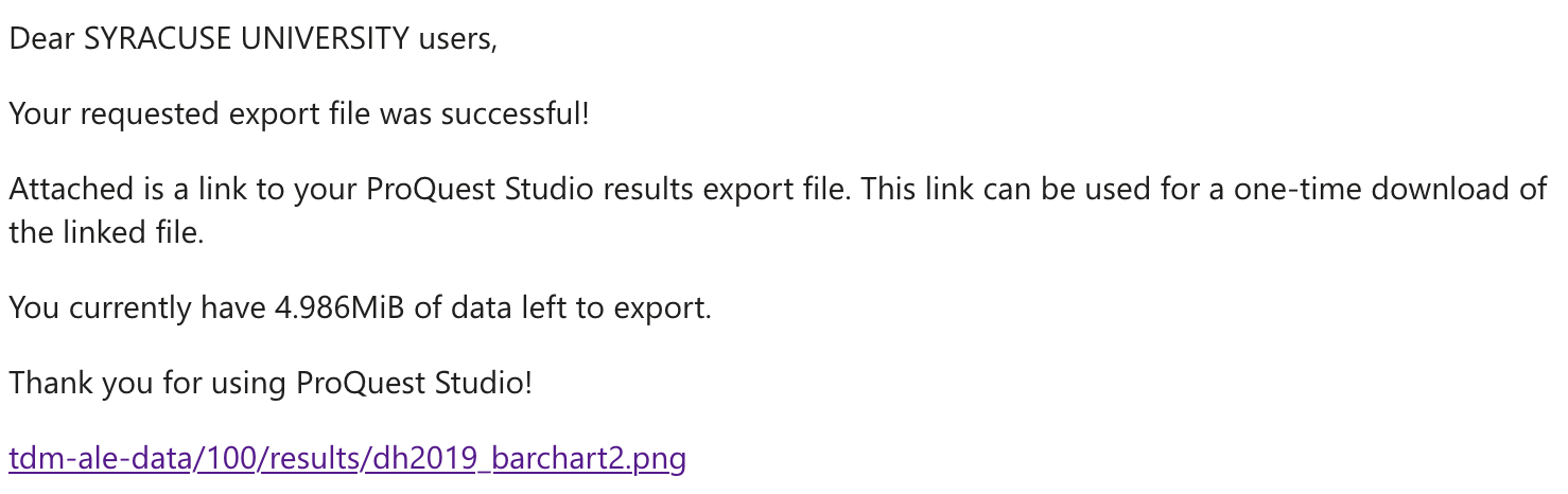 screenshot of email sent to user with export link