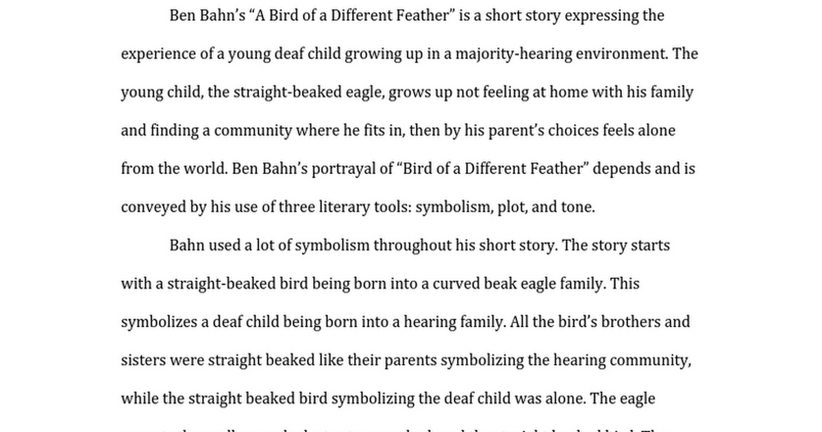 Bird Of A Different Feather 11 4 15 Google Docs