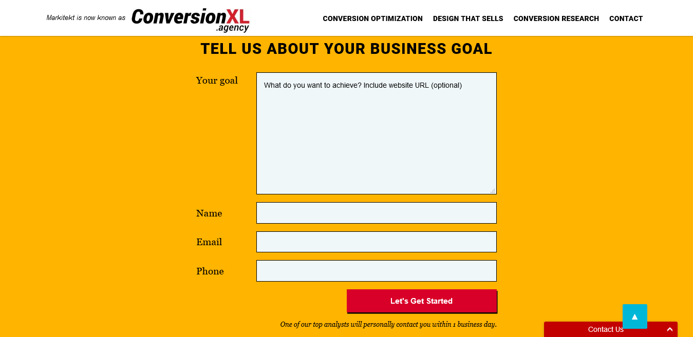 ConversionXL Agency Sticky Navigation Example