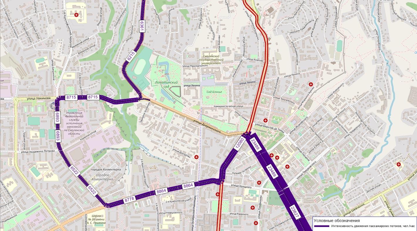пассажиропотоки трамвая в перспективе до 2025 г. без линии по ул. Дзержинского
