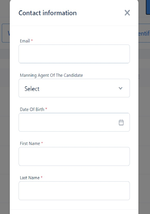screenshot of the pop-up box where you can add a new candidate
