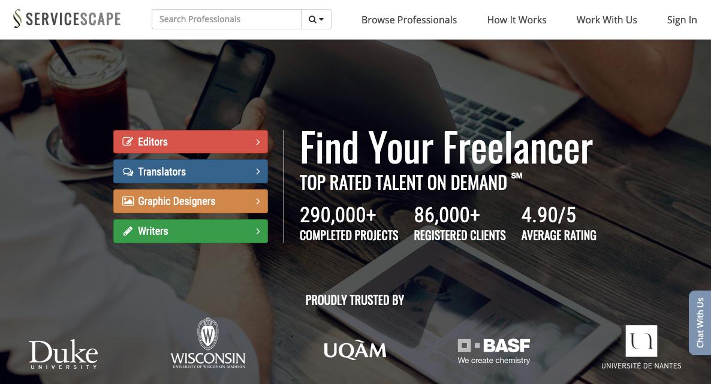 Screenshot of upwork alternative ServiceScape home page
