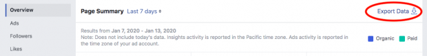 """Nút hiển thị ảnh chụp màn hình để """"xuất dữ liệu"""" trong phân tích của Facebook"""