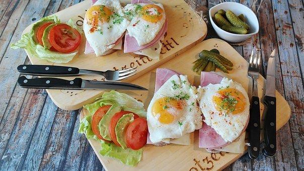 Bread, Ham, Tight Max, Egg, Fried, Yolk