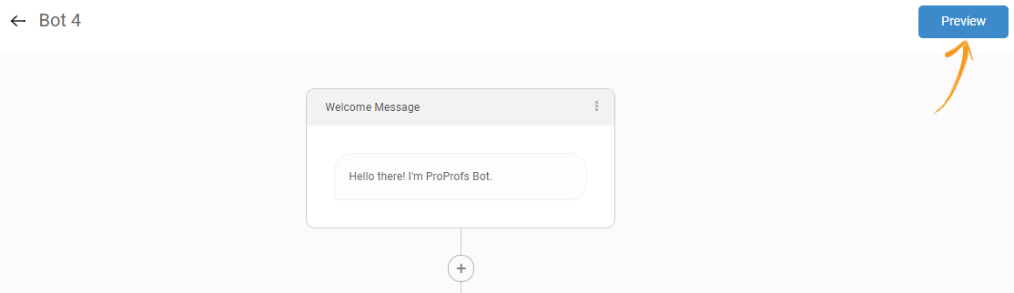 ProProfs chatbot first interaction message with the visitors
