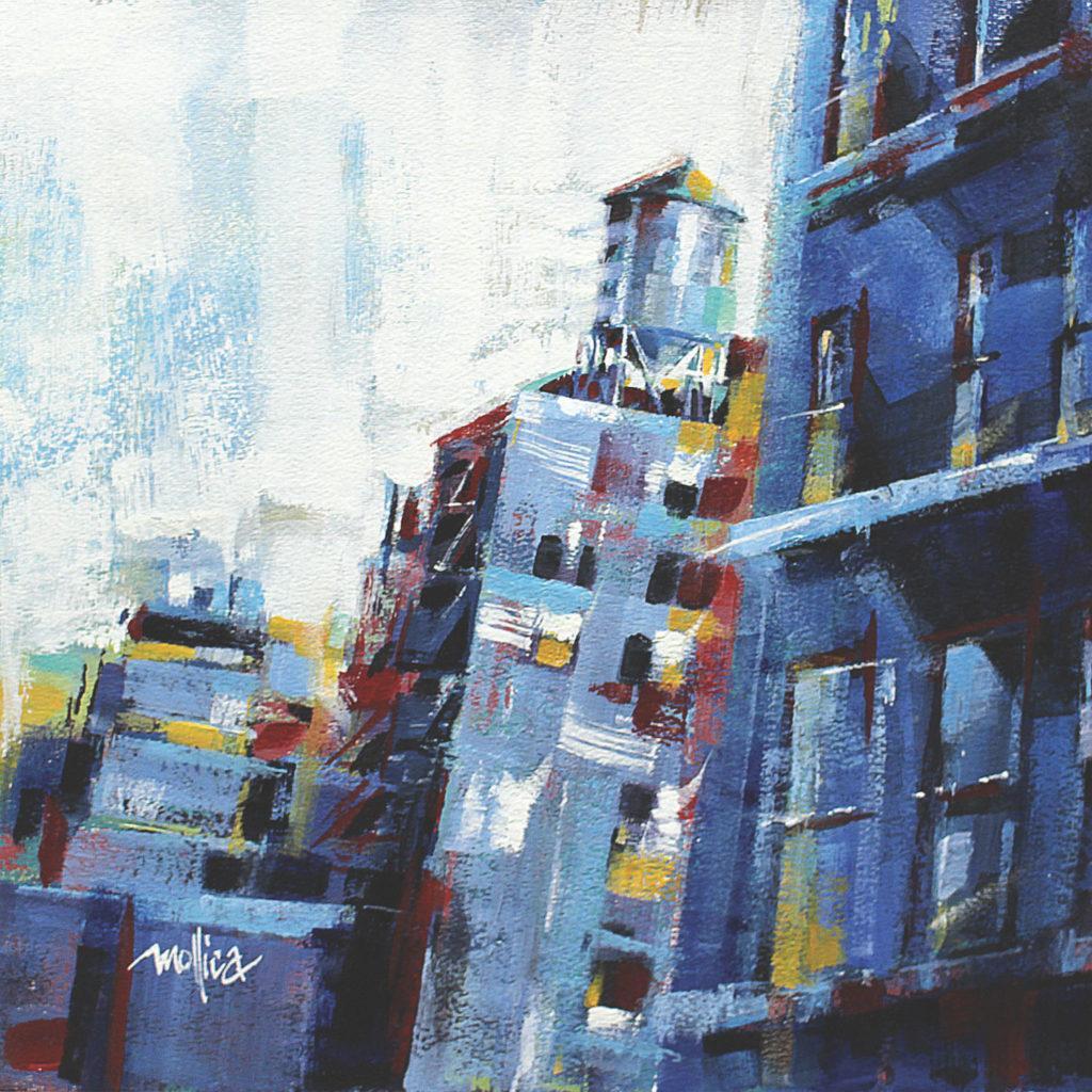 Nhìn Uptown của Patti Mollica, acrylic trên bảng điều khiển;  ví dụ về sơ đồ màu bổ sung tương tự |  Cách chọn phối màu