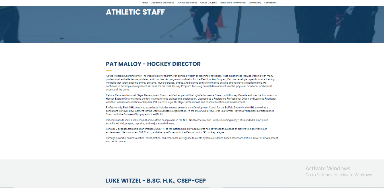 Know the trainers section of a sports institute website