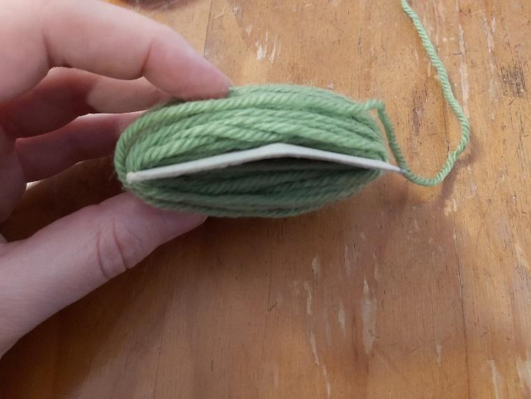 Yarn wound around rectangle