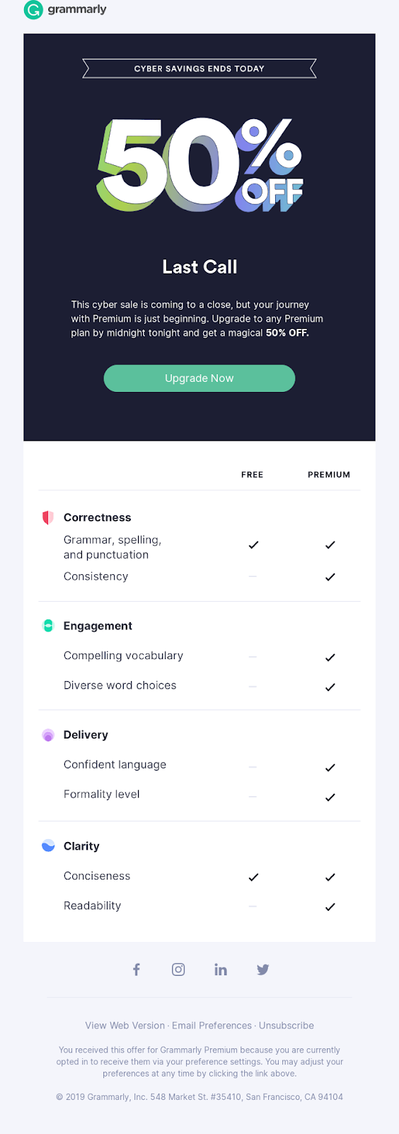 Grammarly email template design