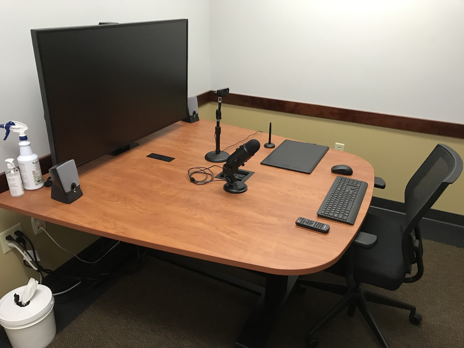 The 1329 recording studio, with monitor, camera, and mic