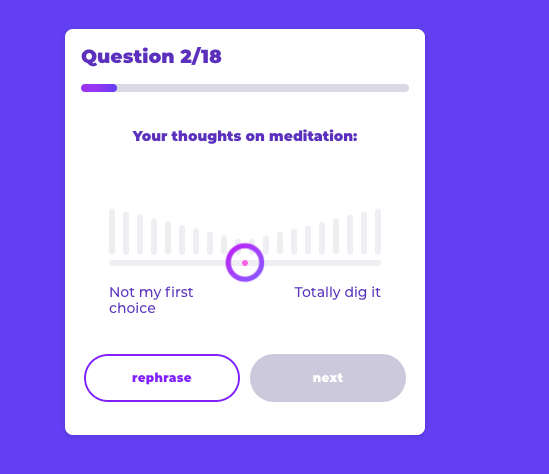 quiz question on your thoughts on meditation
