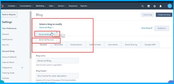 Select a blog to modify