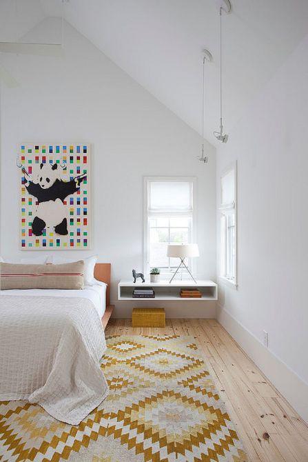 Penggunaan warna aksen pada kamar tidur bergaya Scandinavian - source: thespruce.com