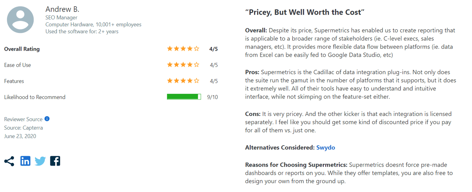 Review of Supermetrics by Andrew B.  on Capterra.