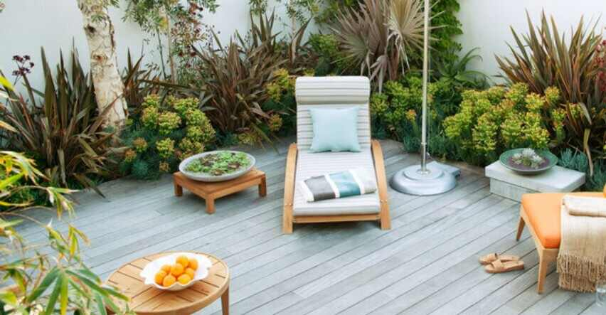 concrete patio and a decking