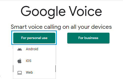 زيارة voice.google.com وتسجيل الدخول إلى رقم وهمي