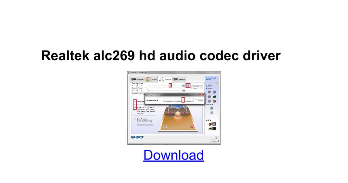 Realtek Alc272 Alc269 Hd Alc269q Gr Audio Driver Windows 10