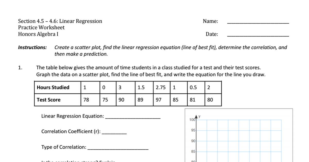 Practice Drawing Line Of Best Fit Worksheet