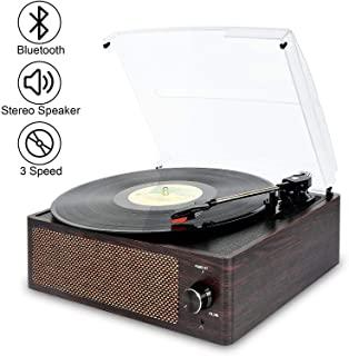 DIGITNOW Bluetooth Record Player Belt-Driven 3-Speed Turntable, Vintage Vinyl Record Players Built-in Stereo Speakers, wit...